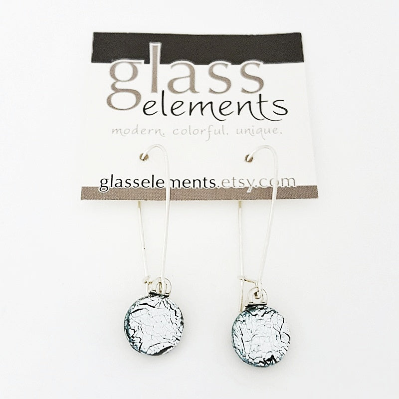 Earrings - Icy Silver Blue Medium Wire Earrings by Glass Elements