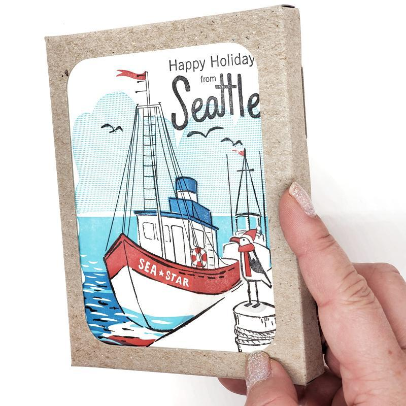 Set of 6 - Holiday Cards - Seattle Dock Holidays by Ilee Papergoods