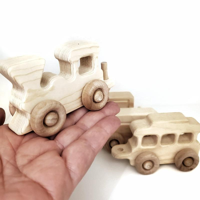 Finished Toy - 4 piece Mini Train Set by My Grandpa's Wooden Toys