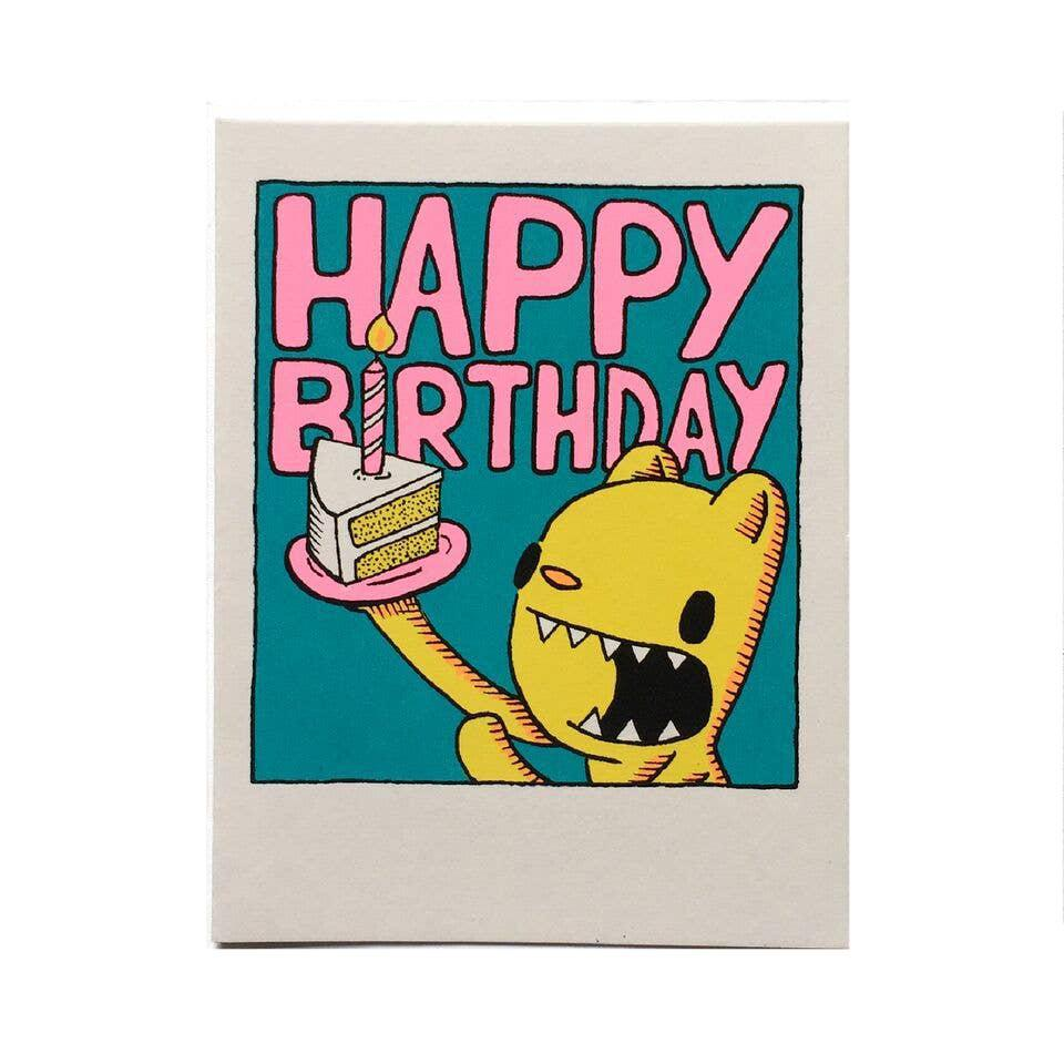Card - Birthday - Cat Cake Slice by Everyday Balloons Print Shop