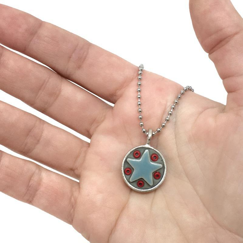 Necklace - Star Baby - Light Blue Star Red Beads by XV Studios