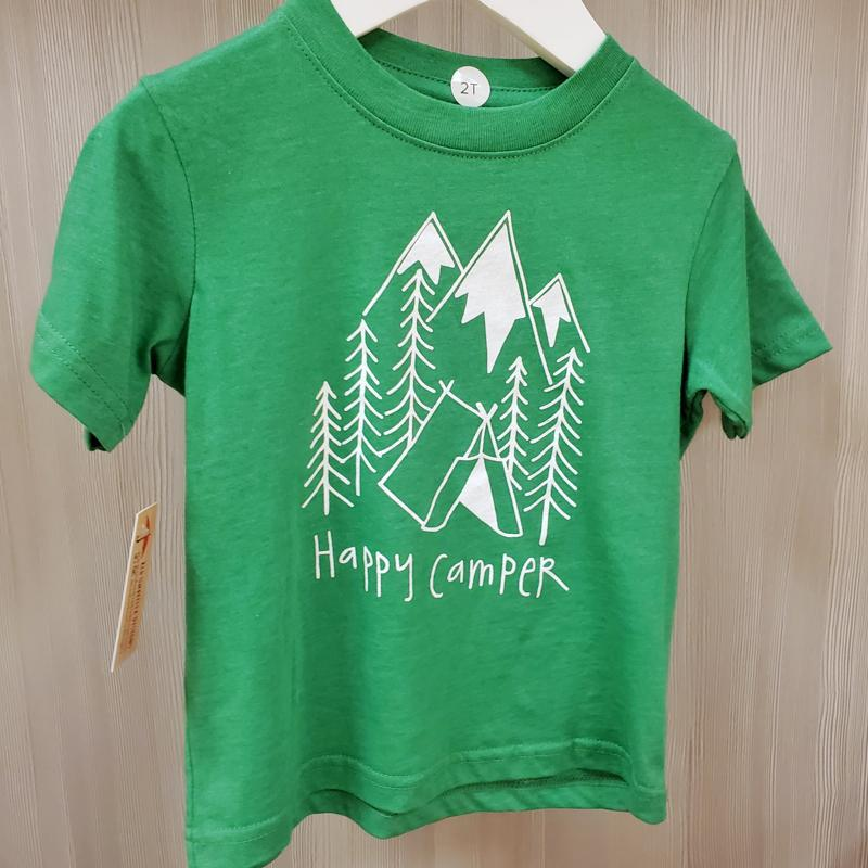 Kids Tee - 2T Green Happy Camper by Red Umbrella Designs