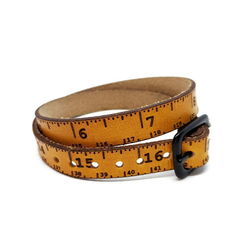 Bracelet - Retro Yellow Leather Tape Measure Wrap (2 sizes) by SXS Leather