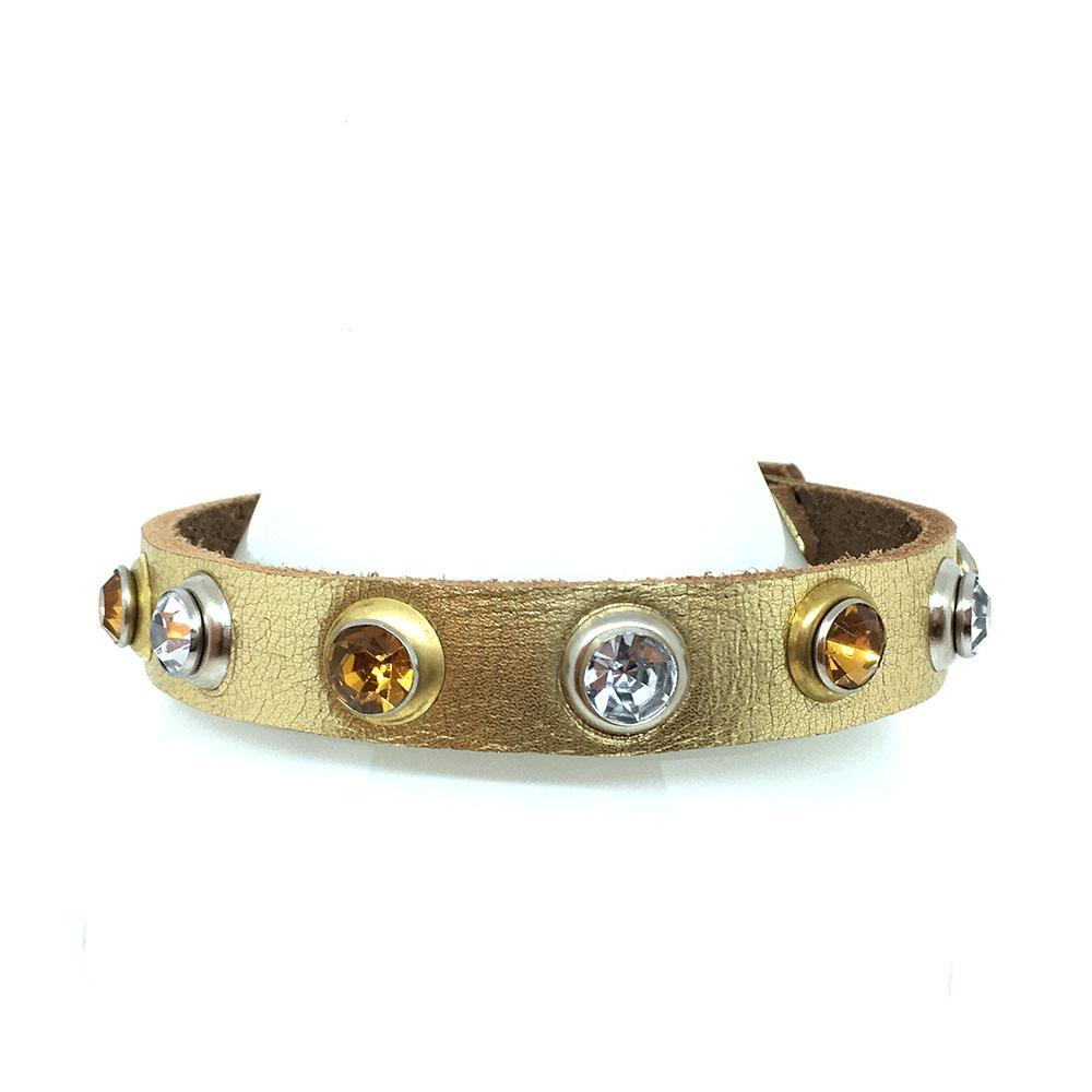 Dog Collar - Sm Gold with Gems by Greenbelts