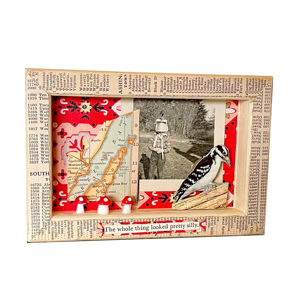 Shadowbox #5 - 4x6 - I'm Ready (bird) Collage by Christine Stoll Studio (SOLD)