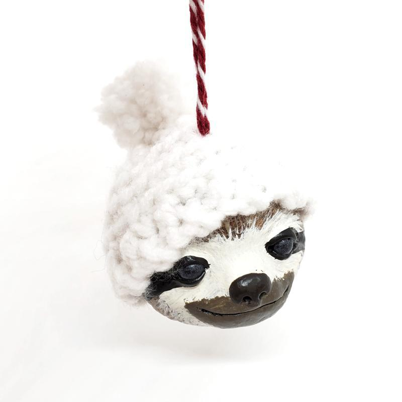 Ornament - Sloth in a Hat White by Curious Burrow