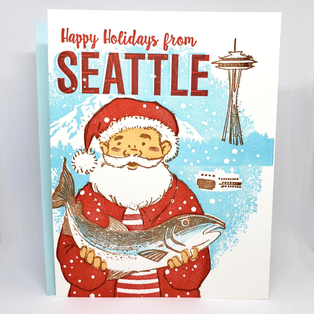 Set of 6 - Holiday Cards - Fisherman Seattle by Ilee Papergoods