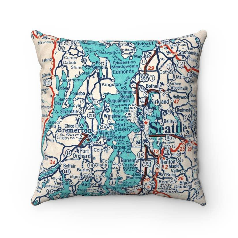 Pillow - Puget Sound Map by Daisy Mae Designs