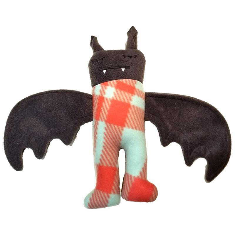 Pajama Bat - Aqua Pink Coral Plaid (Asleep Eyes) by Careful it Bites