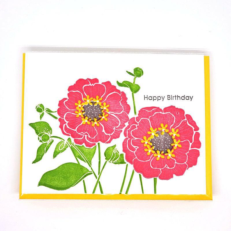 Card - Birthday - Zinnias Happy Birthday by Ilee Papergoods