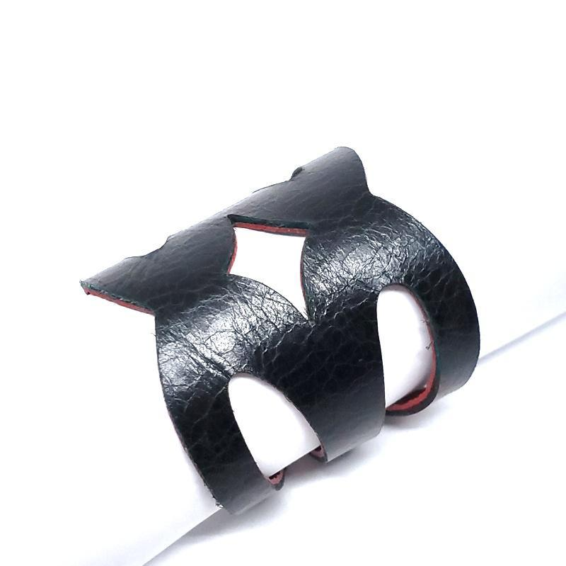 Cuff - Valentine Cranberry Red Black Leather by Oliotto