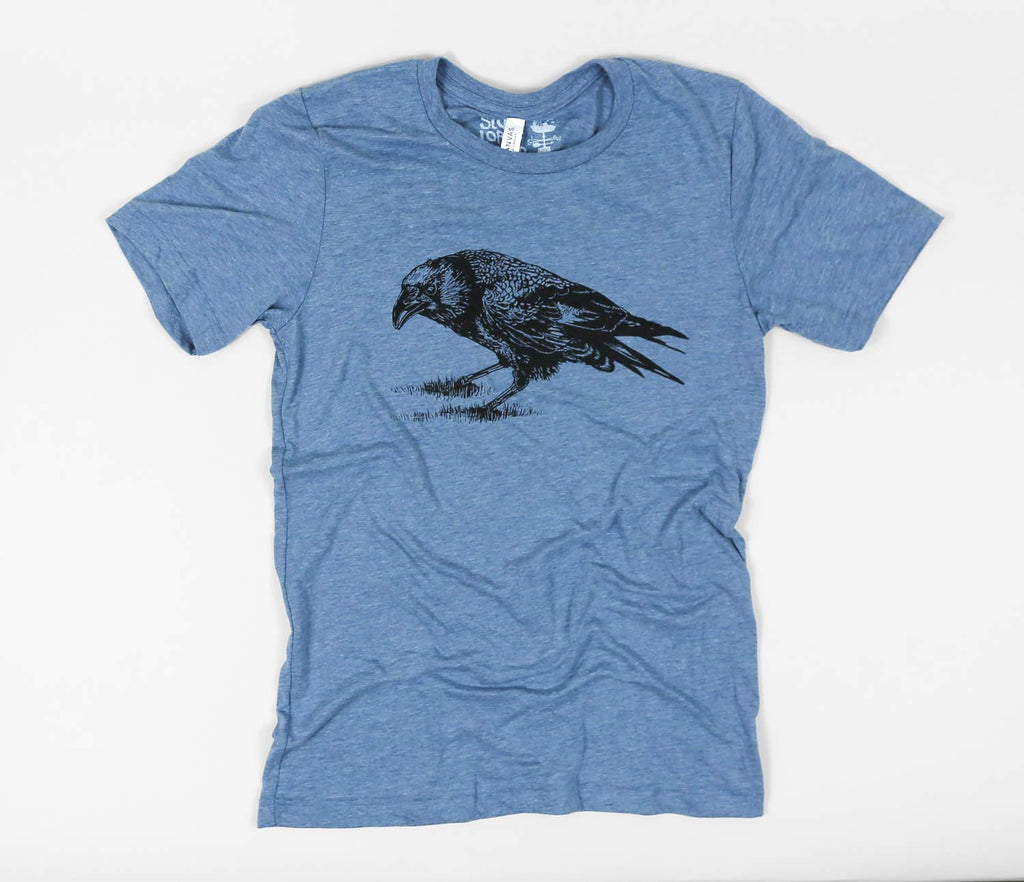 Adult CROW(C) Denim Crew Neck Tee by Slow Loris