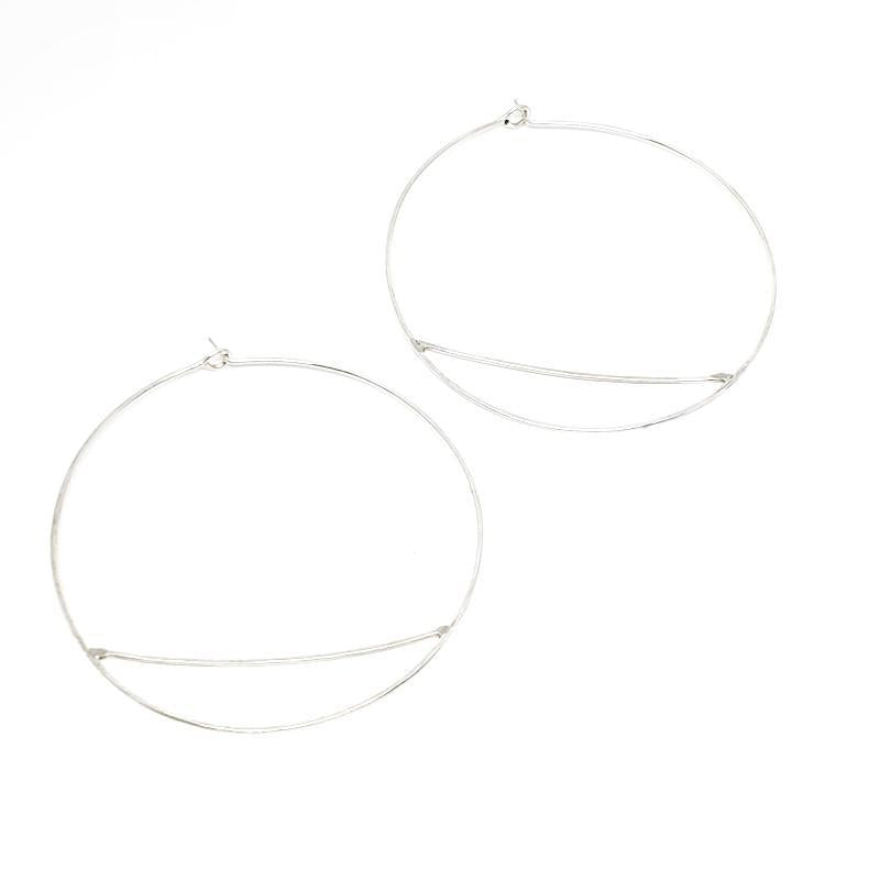 Earrings - Large Bridge Hoops Sterling Silver by Verso Jewelry