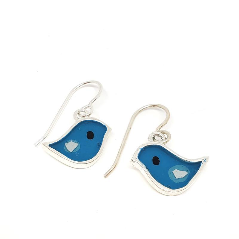 Earrings -  Turquoise Blue Birds by Happy Art Studio