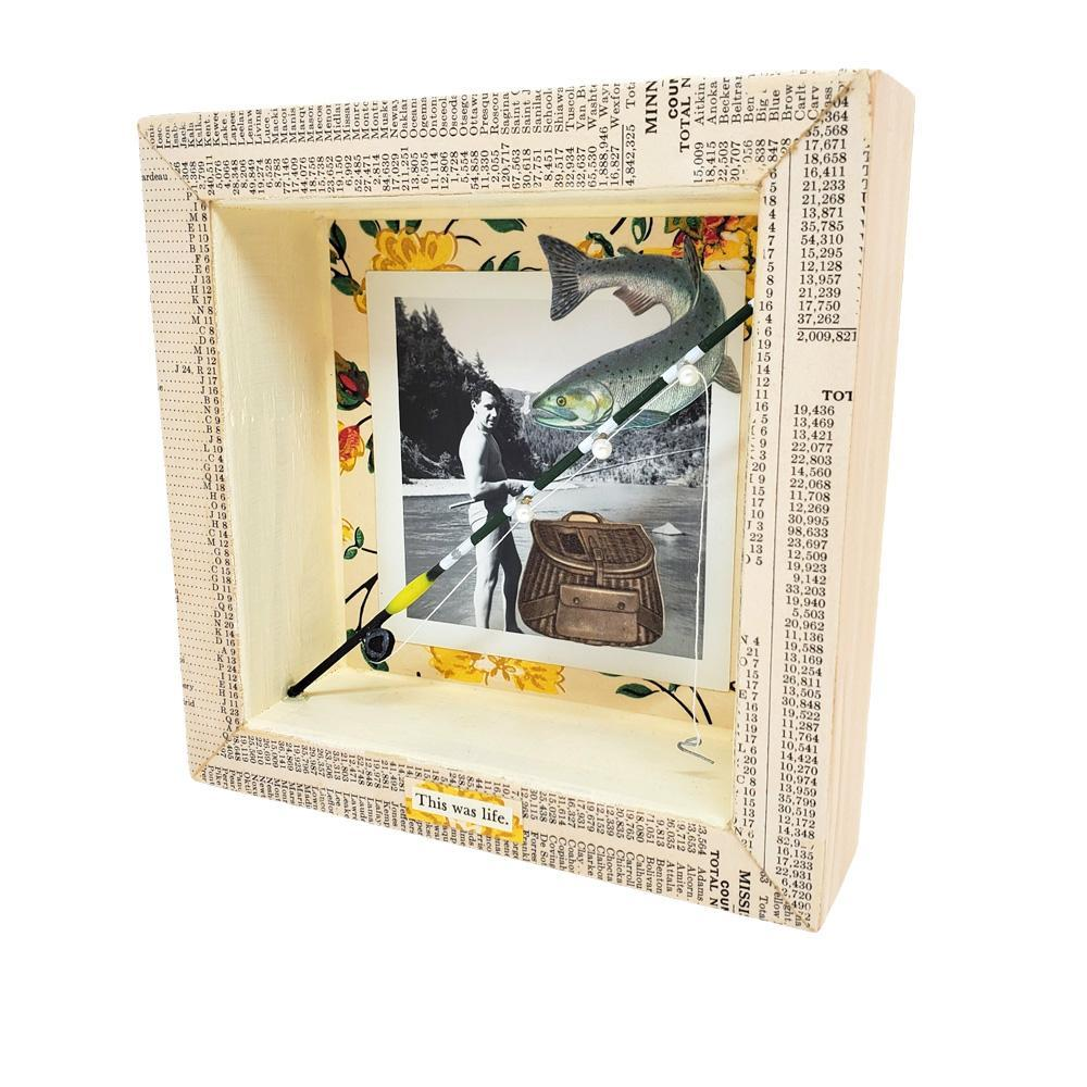 Shadowbox #2 - 6x6 - Fish Whisperer (pole) Collage by Christine Stoll Studio