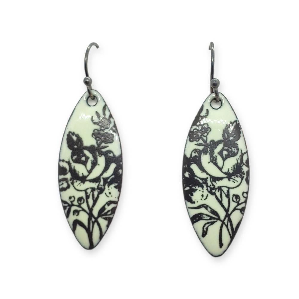 Earrings - Pale Green Black Rose Long Leaf by Magpie Mouse Studios