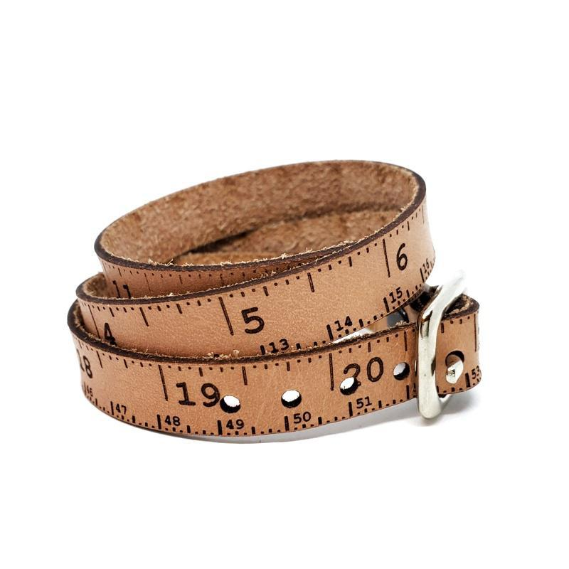 Bracelet - Natural Leather Tape Measure Wrap (2 sizes) by SXS Leather