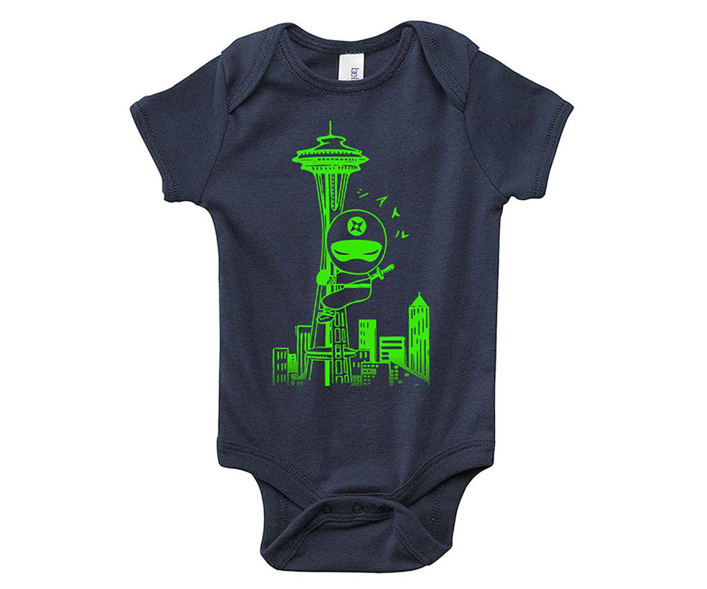Onesie - Seattle Ninja Green on Navy by Namu