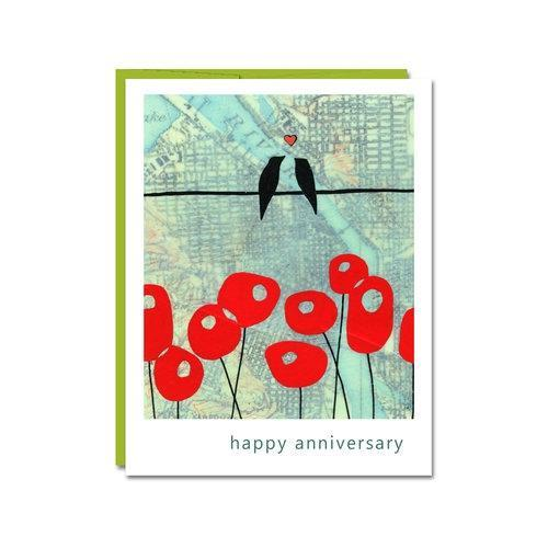 Card - Anniversary - Love Birds by Rachel Austin Art