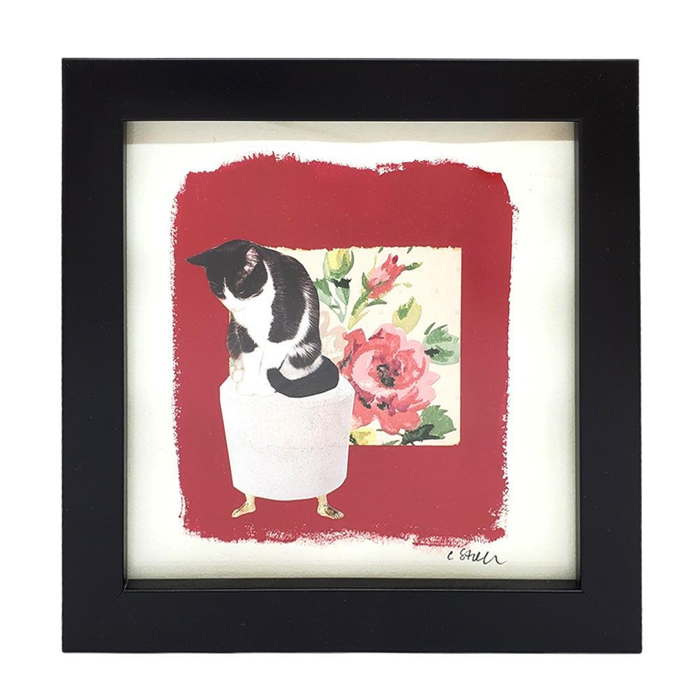 Collage (framed) - 7x7 - Cat on Footstool Creature Comforts by Christine Stoll Studio