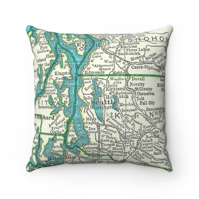 Pillow - Greater Seattle Vintage Map by Daisy Mae Designs