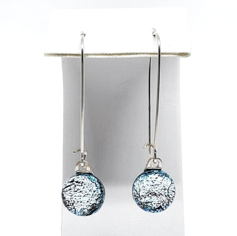 Earrings - Medium Wire Icy Silver Blue Earrings by Glass Elements
