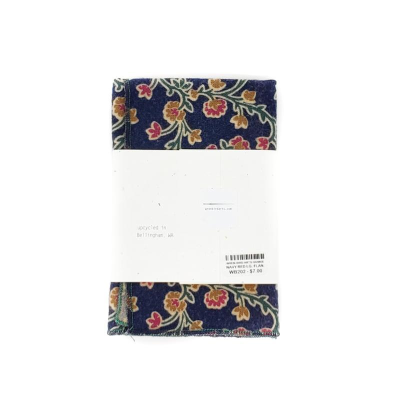 Hankie - Large Flannel Navy Red Gold Floral by Wren Bird Arts
