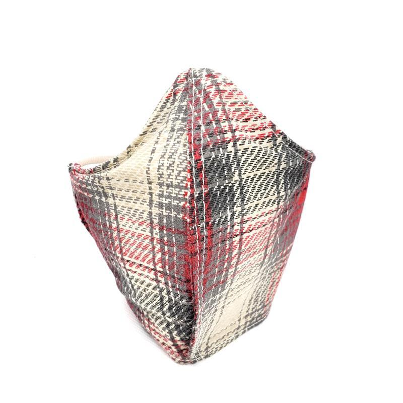 Small - Red Gray Cream Plaid White Lining by imakecutestuff