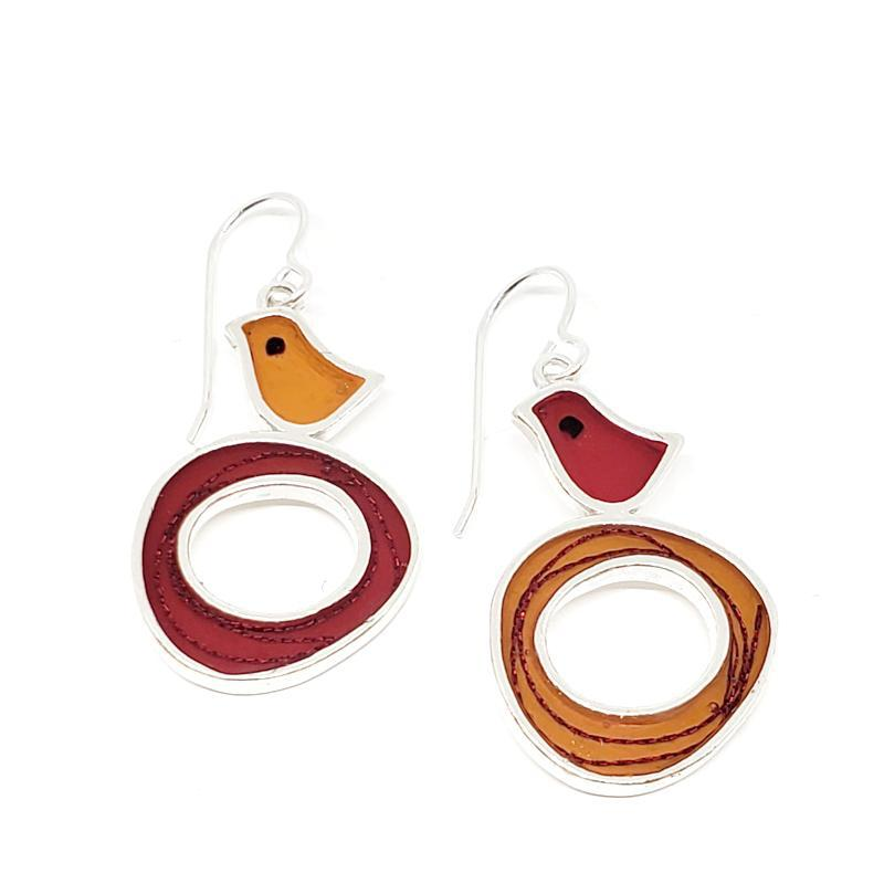 Earrings - Red and Orange Bird Nest by Happy Art Studio