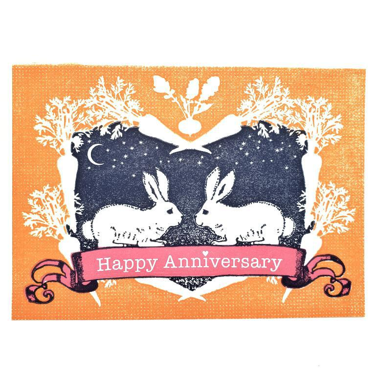 Card - Anniversary - Rabbits Happy Anniversary by Ilee Papergoods