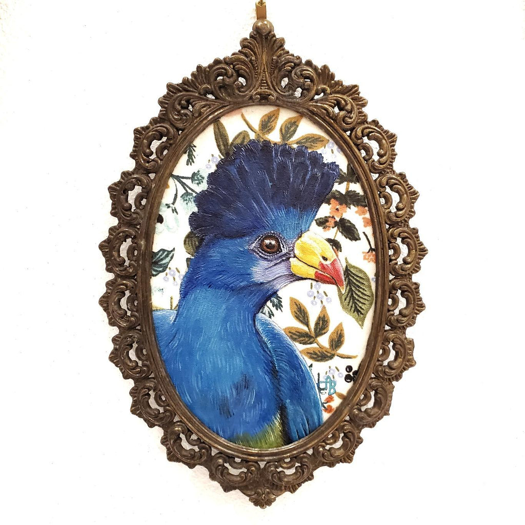 Framed Applique Art - Blue Turaco by Alise Baker of Chubby Bunny