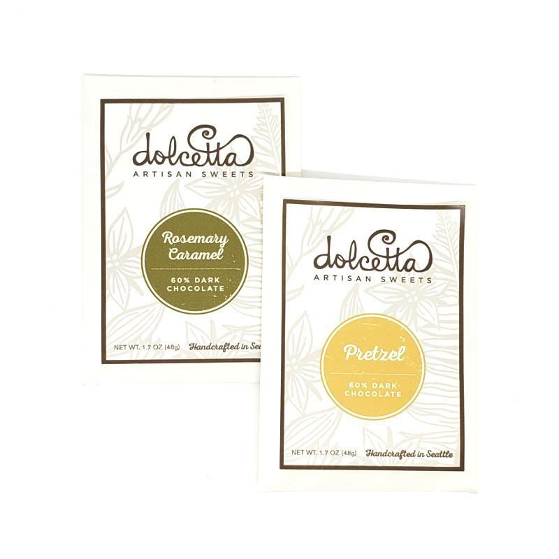 Gift Bundle - Chocolate Pair Rosemary Caramel and Pretzel featuring Dolcetta Artisan Sweets