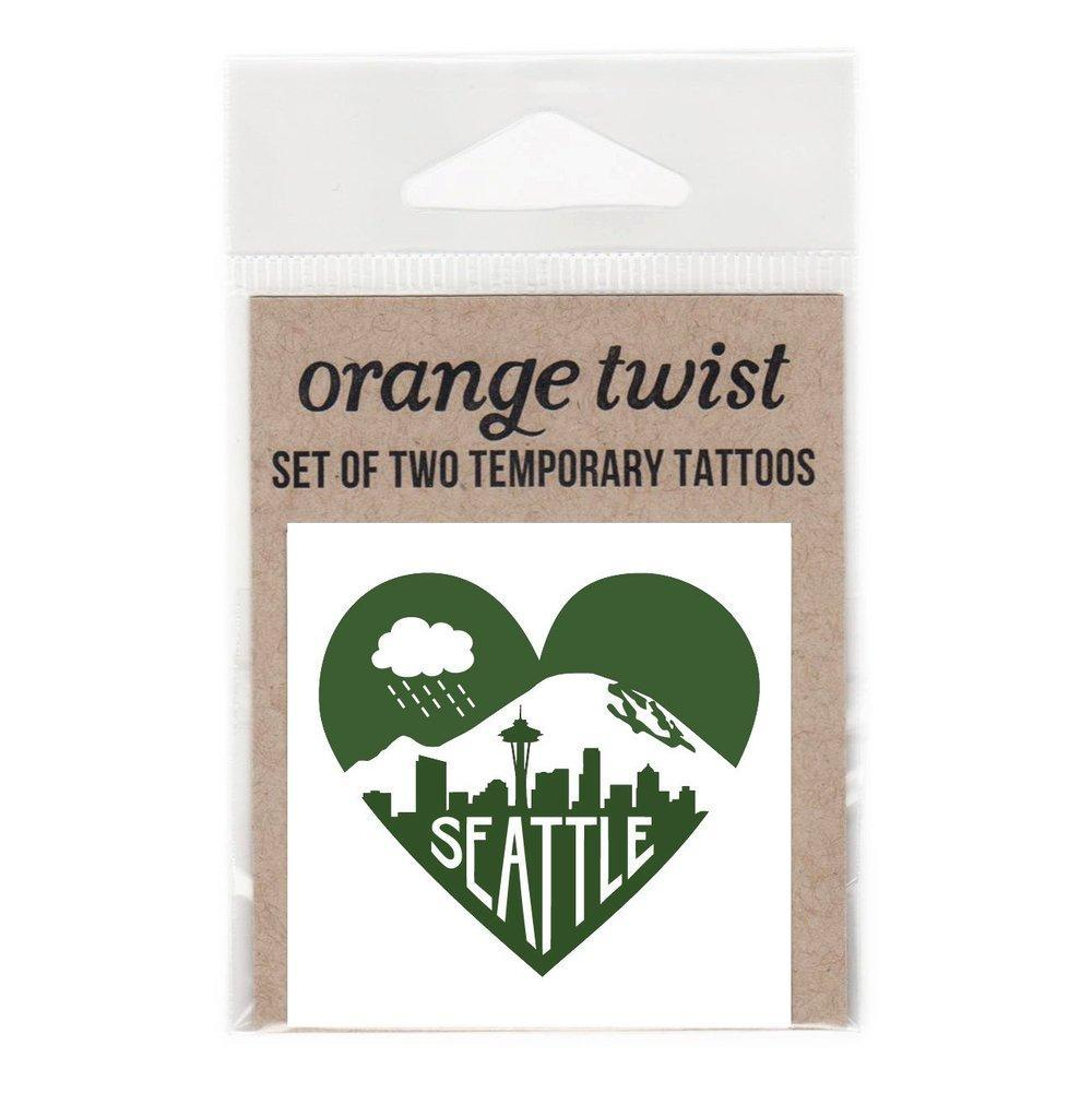 Temporary Tattoo - Seattle Love (Set of 2) by Orange Twist