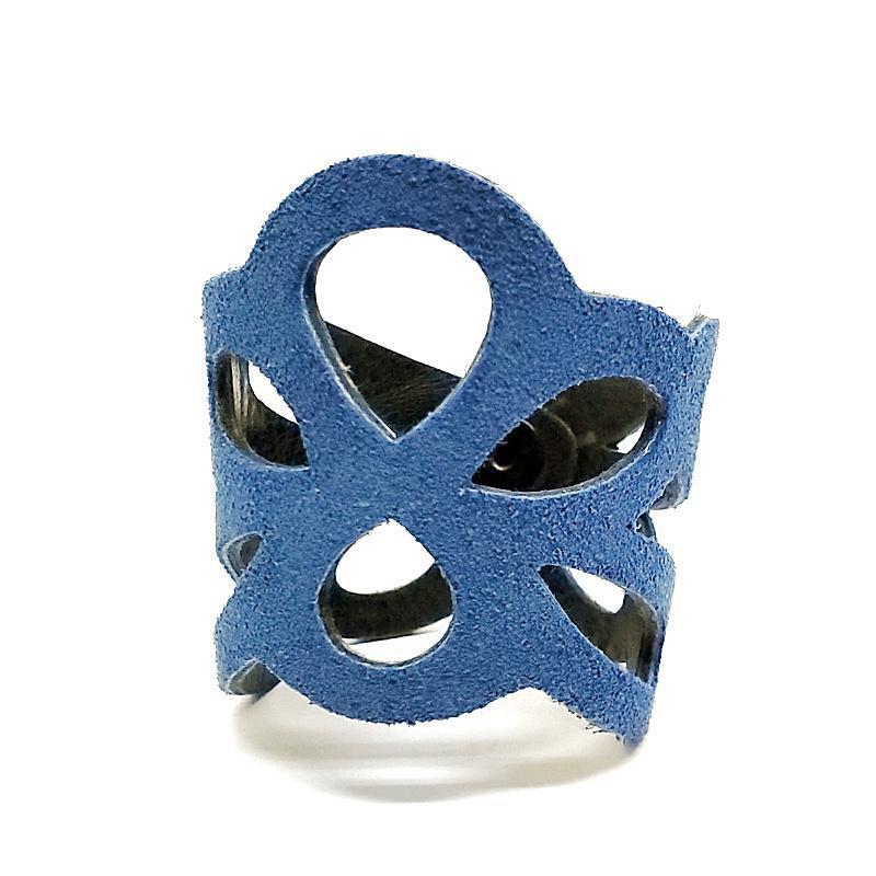 Cuff - Butterfly Blue Suede Black Leather by Oliotto