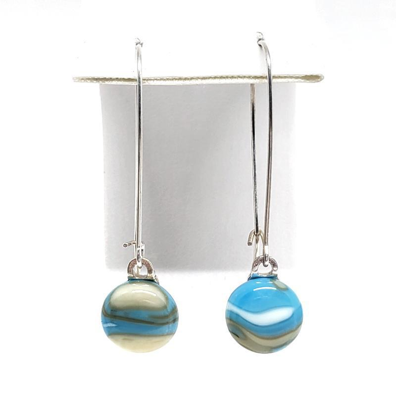 Earrings - Medium Wire Beachy Blue by Glass Elements