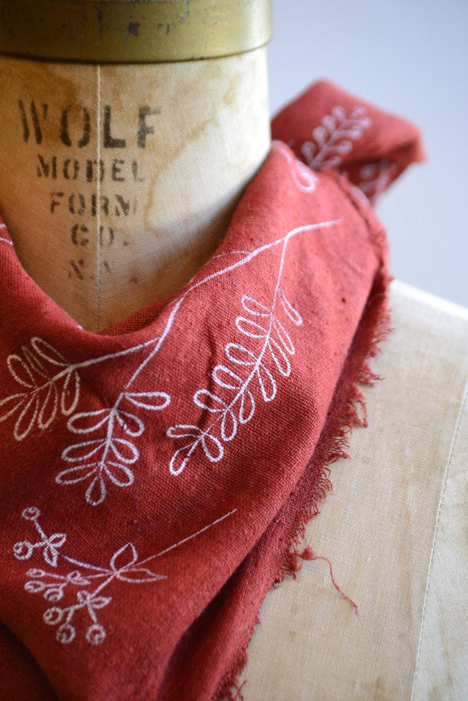 Bandana - Poppy Red Botanical by Eco Raw Studio