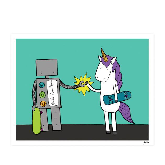 Art Print - Robot & Unicorn High Five (Assorted Sizes) by LaRu