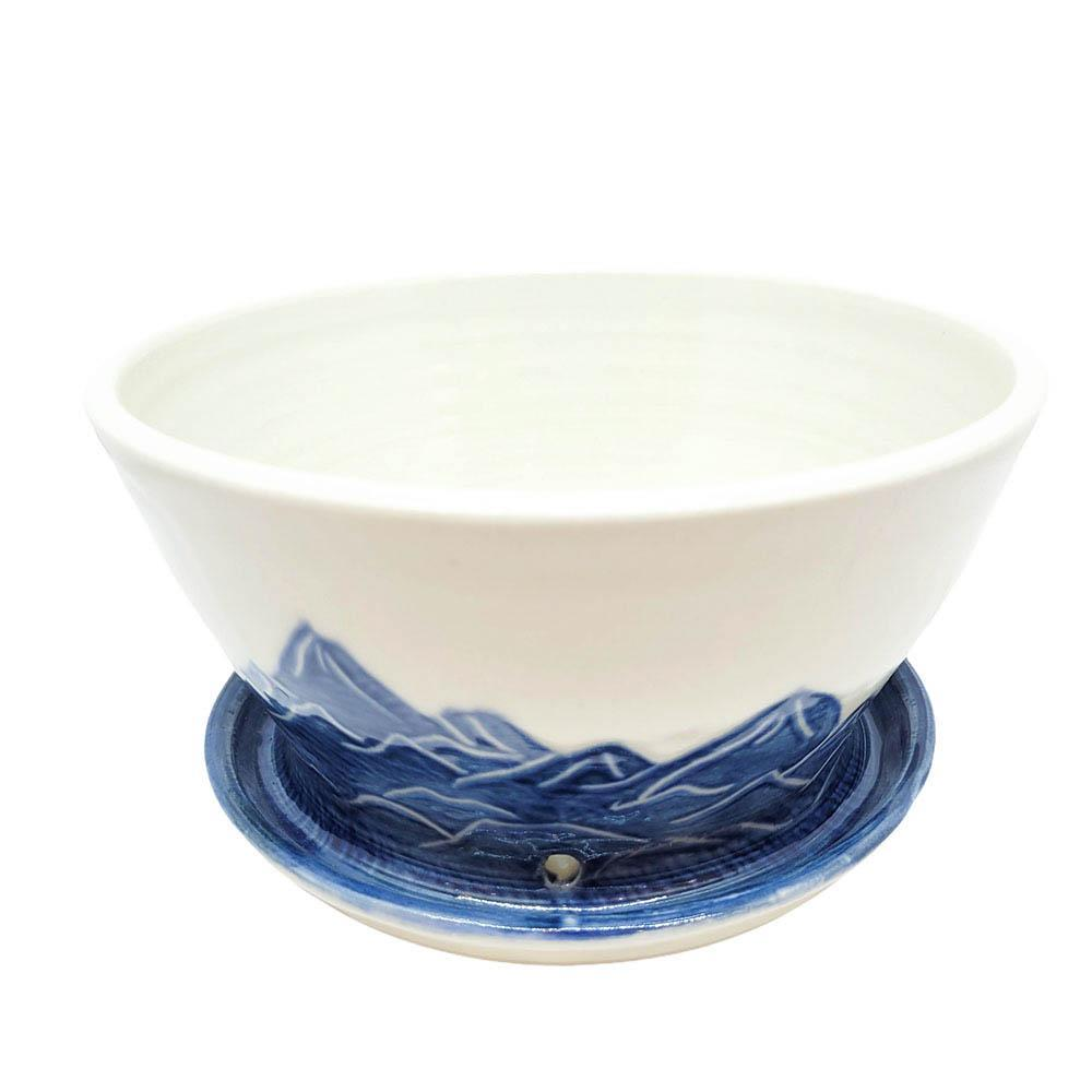 Planter - Large Mountain Blue Flared with Tray by Sarah Bak Pottery