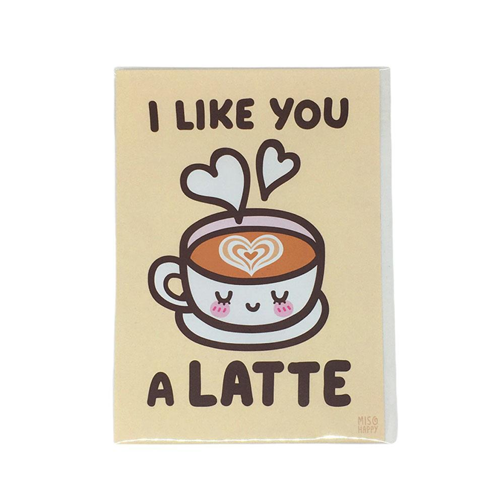 5x7 Print Coffee Puns - I Like You a LATTE by Mis0 Happy