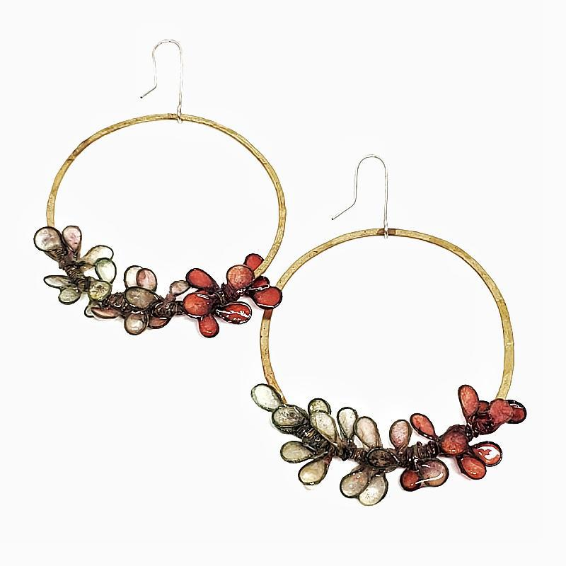 Earrings - Large Laurel Brass Coral Mint by Verso
