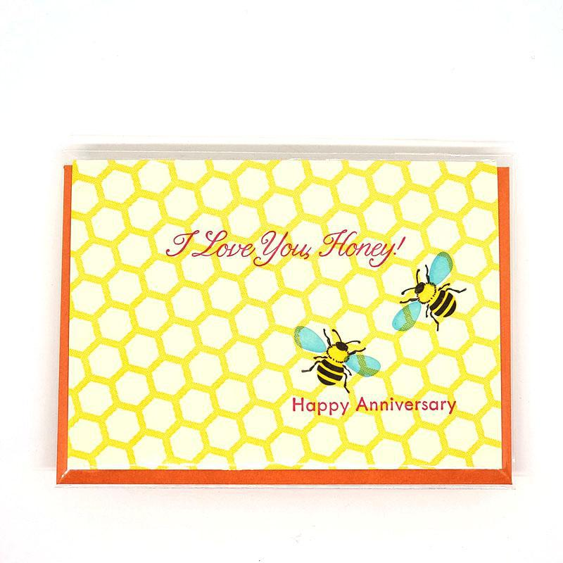 Card - Anniversary - Bee Happy Anniversary by Ilee Papergoods
