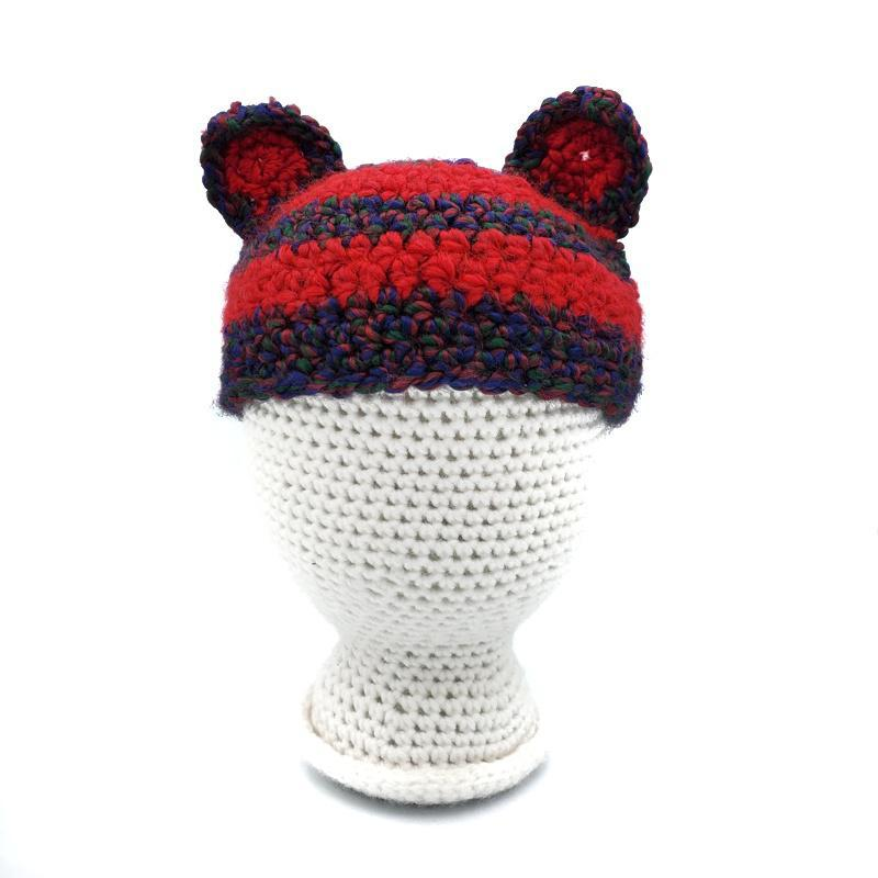 Toddler Hat - Cat Ears - Blue and Red Stripes by Scary White Girl