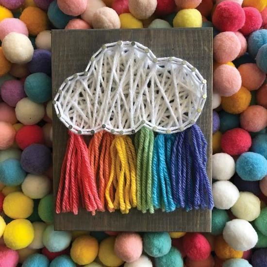Rainbow Cloud Mini DIY String Art Kit by Strung by Shawna