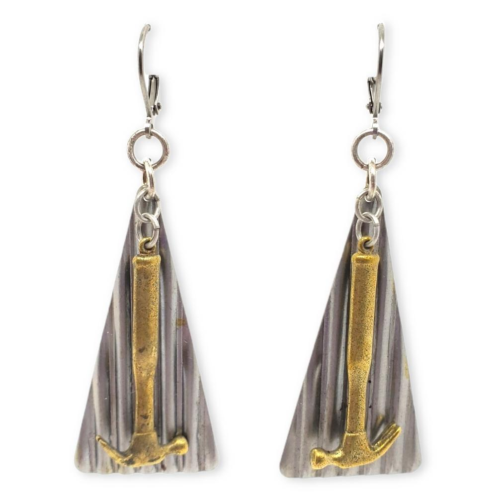 Earrings -  Hammer and Steel Drop Repurposed Vintage Duo by Christine Stoll Studio