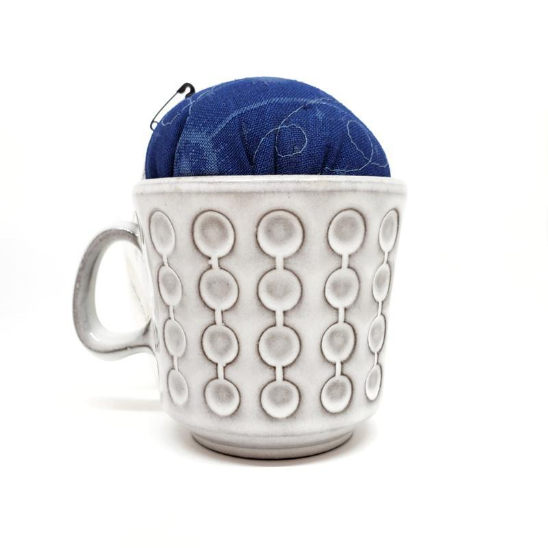 Pincushion - Large - Mod Dotty White Mug by Wise Craft