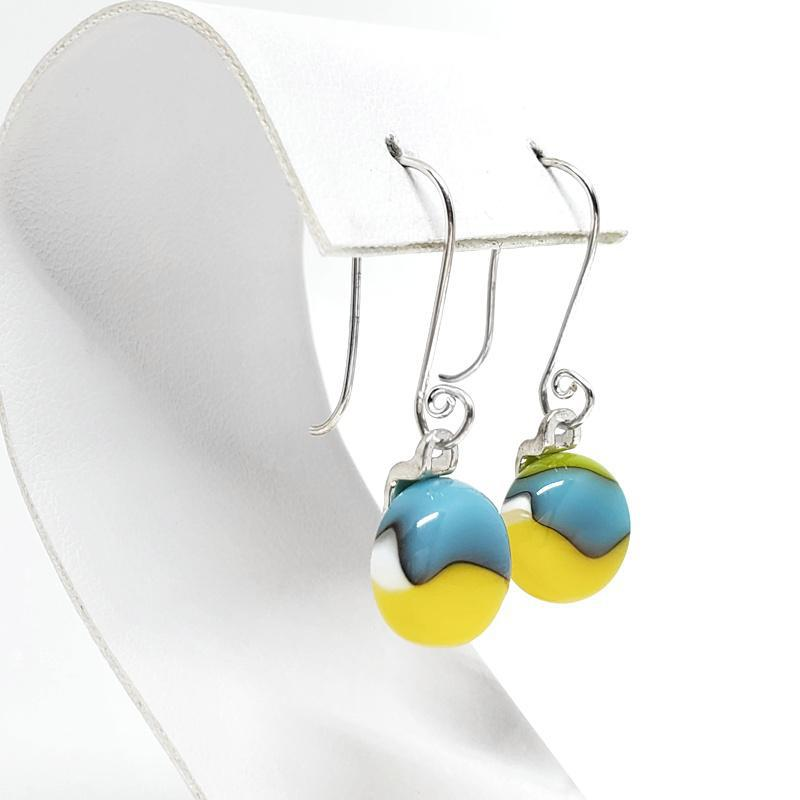Earrings - French Hook Aqua Blue Yellow by Glass Elements
