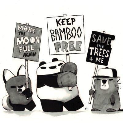 Original Framed Art - Protestor Pandas by Punching Pandas