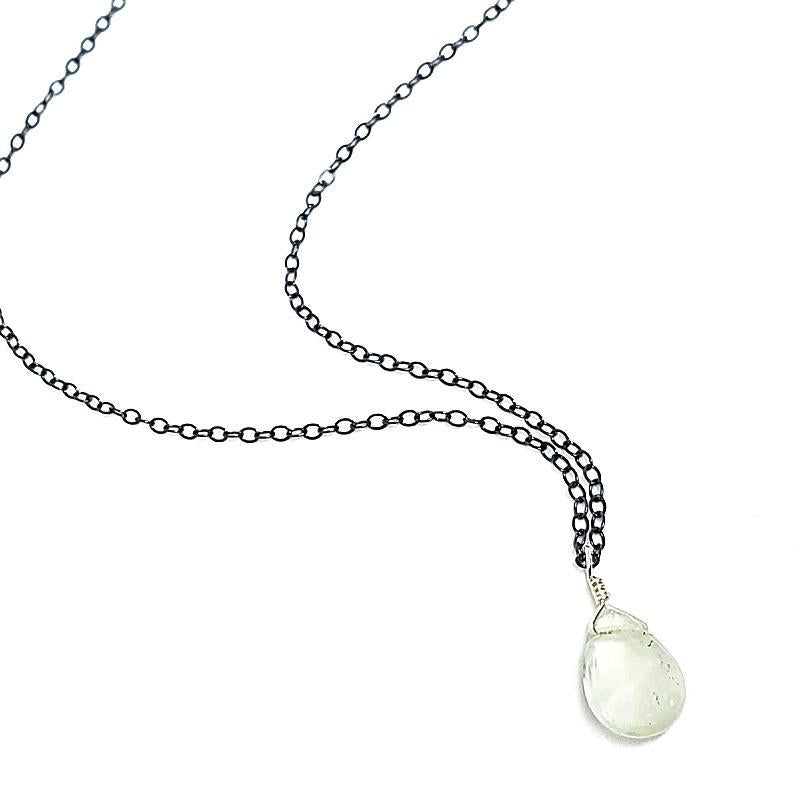 Necklace - Gemstone Drop Prehnite Pale Green by Foamy Wader