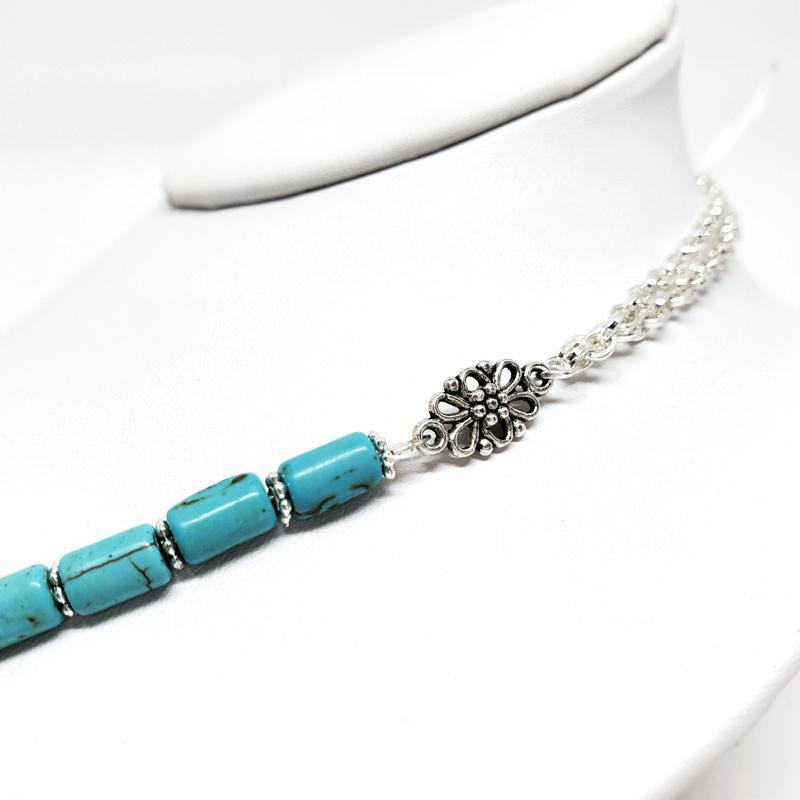 Necklace - Turquoise Howlite Necklace Silver Plate chain by Tiny Aloha