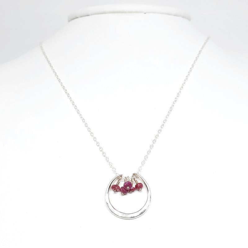 Necklace - Serena Ruby Sterling Silver by Foamy Wader